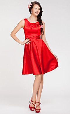 A-line Jewel Knee-length Stretch Satin Bridesmaid Dress