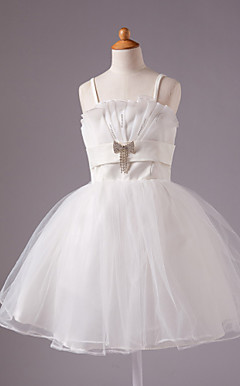 A-line Spaghetti Straps Knee-length Satin  Beading Sleeveless Flower Girl Dress