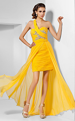 Sheath/Column One Shoulder Sweetheart Floor-length Split Front Chiffon Evening Dress