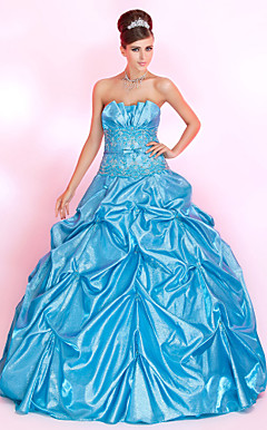 Ball Gown Strapless Floor-length Taffeta Prom Dress