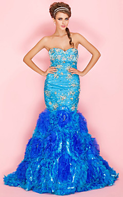 Trumpet/Mermaid Sweetheart Floor-length Satin Prom Dress With Cascading Ruffles