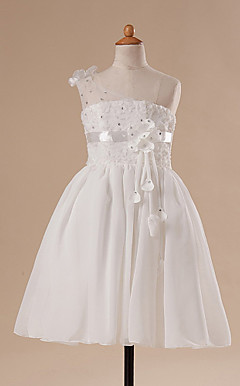A-line Knee-length One Shoulder Flower Girl Dress
