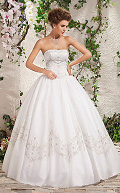 A-line Strapless Floor-length Beading Wedding Dress