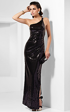 Sheath/Column One Shoulder Ankle-length Split Front Sequined Evening Dress