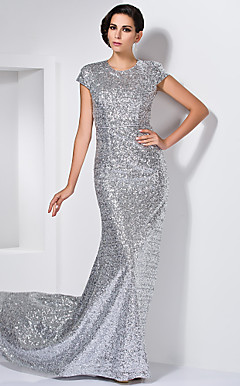 Sheath/Column Jewel  Sweep/Brush Train Sequined Evening Dress