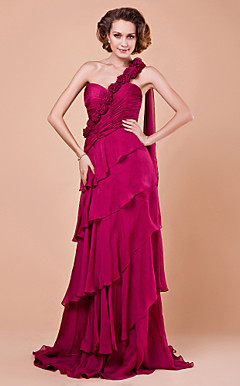 Sheath/Column Sweetheart Floor-length Watteau Train Chiffon Mother of the Bride Dress With A Wrap