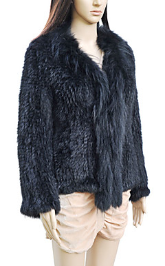Elegant langermet Turndown Collar Evening Raccoon Fur og Rabbit Fur Jacket