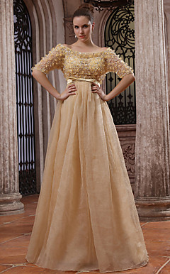 A-line Off-the-shoulder Floor-length Tulle Over Chiffon Luxurious Dresses