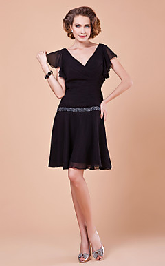 Sheath/Column V-neck Short Sleeve Knee-length Polyester Mother of the Bride Dress