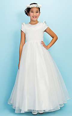 Ball Gown Jewel Floor-length Satin Organza Junior Bridesmaid Dress