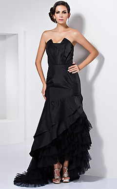 Trumpet/Mermaid Strapless Asymmetrical Taffeta Evening Dress Inspired By Anna Torv At The Emmys