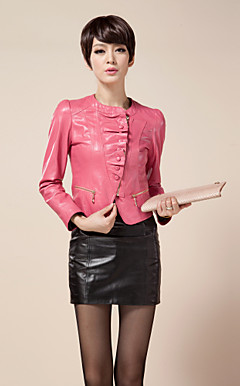 Long Sleeve Collarless Lambskin Leather Jacket(More Colors)