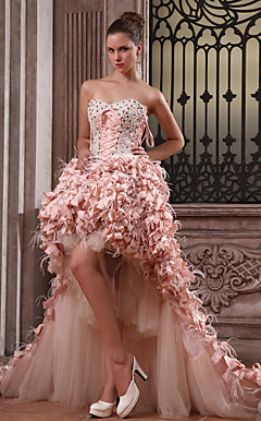 Ball Gown Sweetheart Asymmetrical Taffeta And Satin Luxurious Dresses