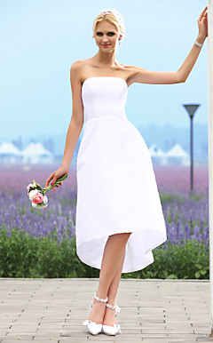 Debonaire A-line Strapless Asymmetrical Taffeta Wedding Dress