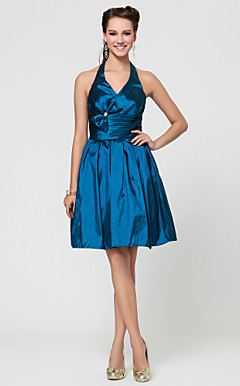 A-line Halter Knee-length Taffeta Bridesmaid Dress