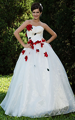 Ball Gown Sweetheart Floor-length Satin Tulle Wedding Dress (WGY0068)