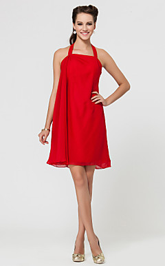 Sheath/Column Halter Short/Mini Chiffon Bridesmaid Dress