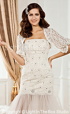 Gorgeous Half-Sleeve Lace With Trim Special Occasion Jacket/Wedding Wrap