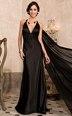 Trumpet/Mermaid Halter Sweep/Brush Train Stretch Satin And Chiffon Evening Dress