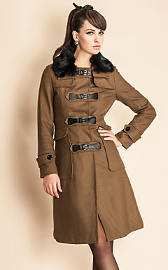 TS Rabbit Fur Collar Leather Button Tweed Coat