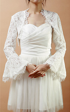 Long Bell Sleeve Lace Wedding/Evening Jacket/Wrap (More Colors)