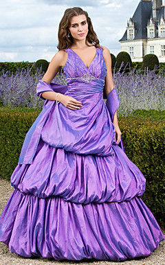 Ball Gown V-neck Floor-length Taffeta Evening Dress With Wrap