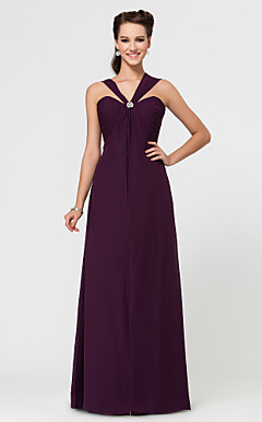 Sheath/Column Sweetheart Floor-length Chiffon Bridesmaid Dress