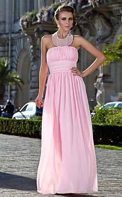 A-line Halter Floor-length Chiffon Evening Dress With Pearl Detailing