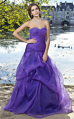 Ball Gown Sweetheart Floor-length Organza Evening Dress