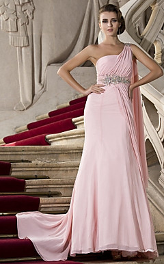 Trumpet/Mermaid One Shoulder Watteau Train Chiffon Evening Dress