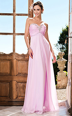 schede / kolom sweetheart strapless vloer-length chiffon avondjurk met beading