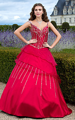 Ball Gown V-neck Floor-length Taffeta And Organza Evening Dress