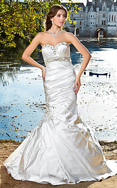 Trumpet/Mermaid Sweetheart Strapless Satin Wedding Dress
