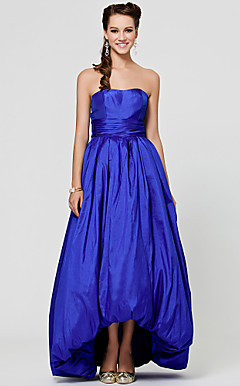 A-line Strapless Asymmetrical Taffeta Bridesmaid Dress With Bow