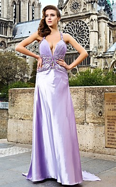 Sheath/Column V-neck Watteau Train Chiffon And Satin Evening Dress