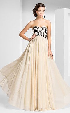 Sheath/Column Sweetheart Floor-length Tulle Evening Dress With Criss Cross And Draping