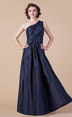 A-line One Shoulder Floor-length Taffeta Mother of the Bride Dress With Bow