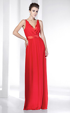 Chiffon Stretch Satin Floor-length V-neck Evening Dress inspired by Selena Gomez at the 83rd Oscar