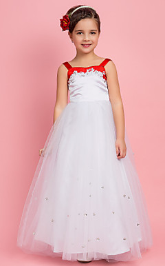 Ball Gown Square Floor-length Satin And Tulle Flower Girl Dress
