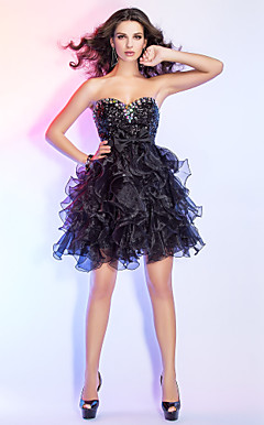 Ball Gown Sweetheart Short/Mini Organza And Sequined Cocktail Dress