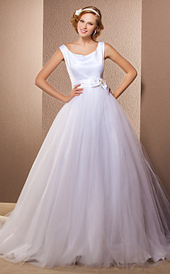 Ball Gown Square Sweep/Brush Train Tulle And Satin Wedding Dress
