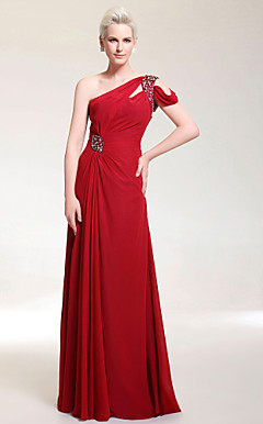 Chiffon Sheath/ Column One Shoulder Floor-length Evening Dress inspired by Salma Hayek
