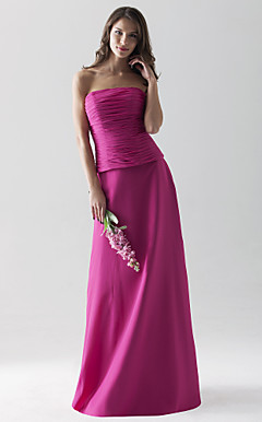 Sheath/ Column Strapless Floor-length Chiffon Over Satin Separate Bridesmaid Dress