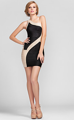 Sheath/Column One Shoulder Short/Mini Rayon Faddish Bandage Dress