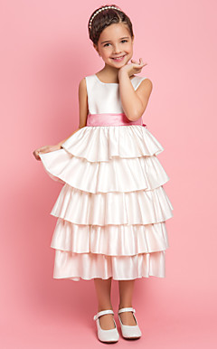 A-line Princess Jewel Tea-length Satin Flower Girl Dress