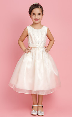 A-line Princess Jewel Tea-length Organza Flower Girl Dress With Beading