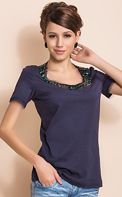 TS Handmade Beads Collar T Shirt