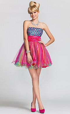 A-line|Princess Strapless Short/Mini  Satin|Tulle Evening Dress