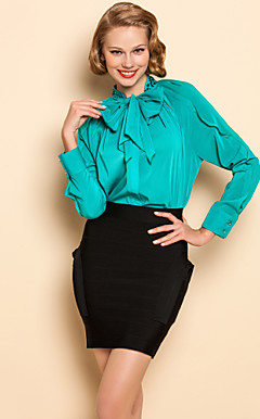 TS Chiffon solto Bow Camisa Blusa Collar