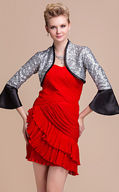 Elegant Long Sleeves Satin With Sequins Wedding / Special Occasion Jacket / Wrap